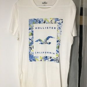 Hollister Logo White, Blue, and Green Crewneck Tee